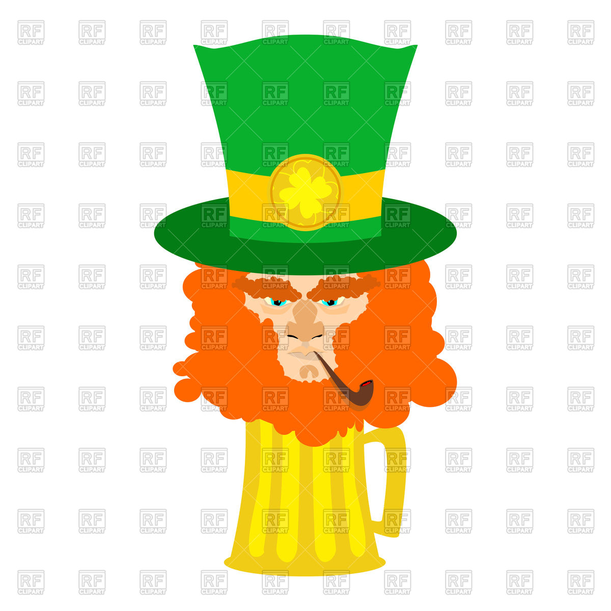 1200x1200 Leprechaun With Red Beard And Beer. St. Patrick's Day Character
