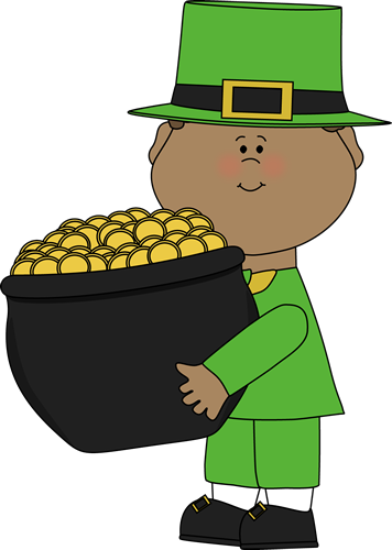 356x500 Saint Patrick's Day Boy With Pot Of Gold Clip Art