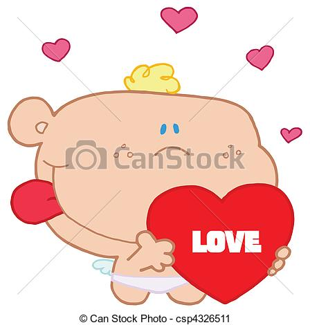 448x470 St Valentine's Day Cupid Romantic Cupid With Valentine Hearts