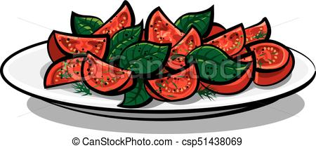 450x211 Illustration Of Fresh Tomato Salad With Basil Leaves On Clip