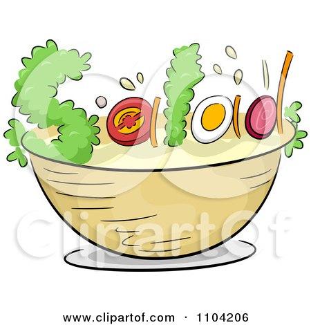 450x470 Clipart Of A Salad Bowl