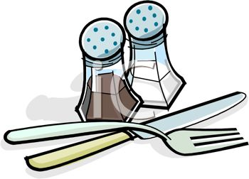 350x252 Picture Of A Knife, Fork, And Salt And Pepper Shakers In A Vector