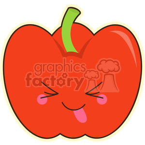 300x300 Royalty Free Bell Pepper Cartoon Character Vector Clip Art Image