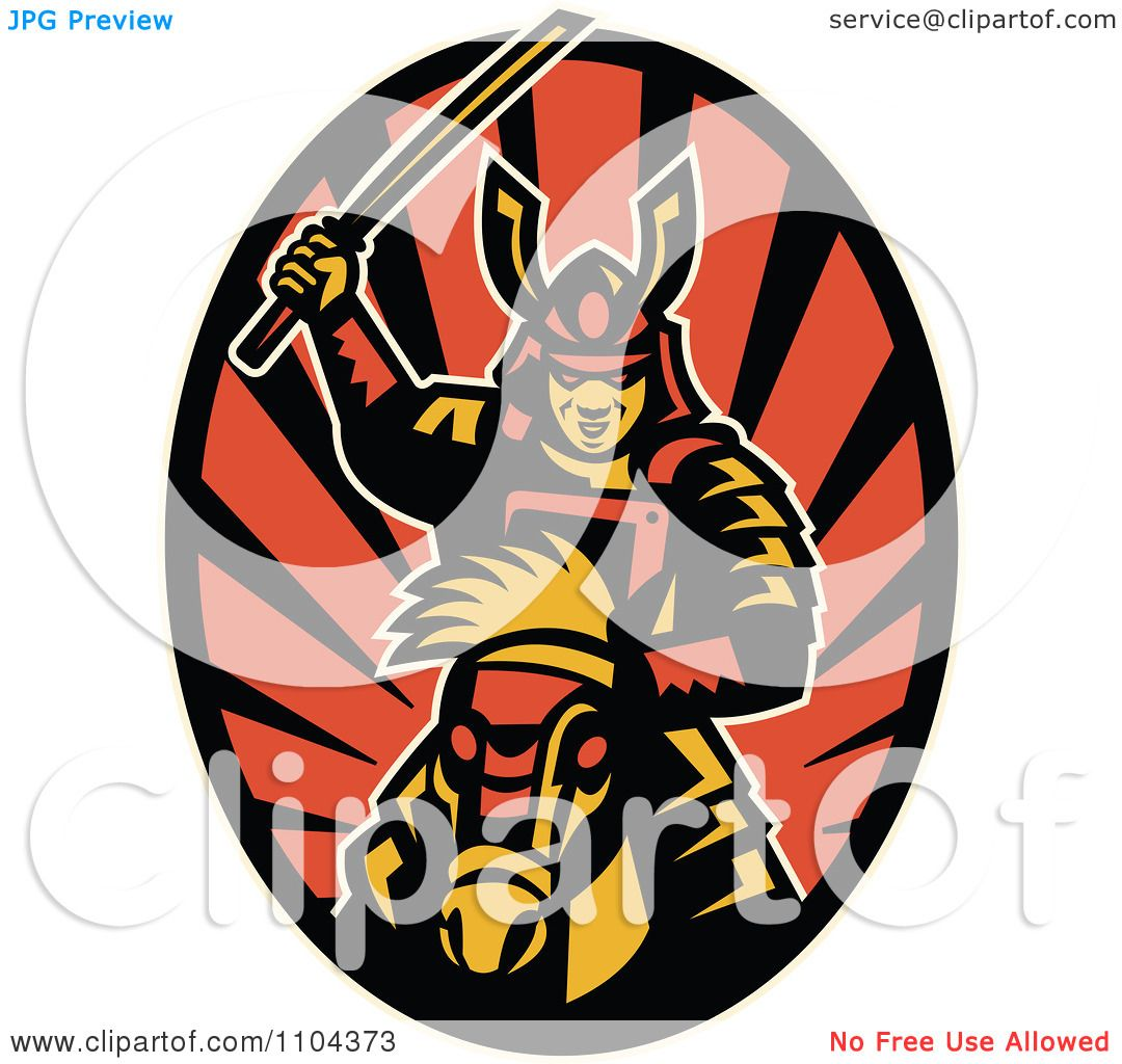1080x1024 Clipart Retro Samurai Warrior On Horseback With A Raised Katana