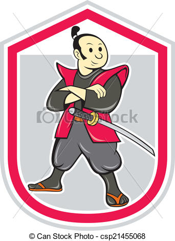 342x470 Samurai Warrior Arms Folded Shield Cartoon. Illustration