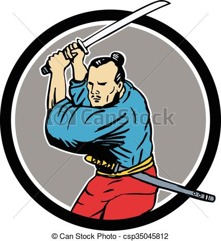 431x470 Samurai Warrior Katana Sword Circle Drawing. Drawing Sketch