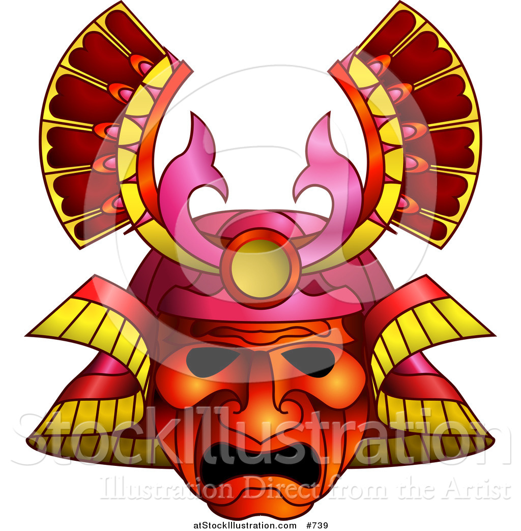 1024x1044 Vector Illustration Of An Asian Samurai Warrior Mask By