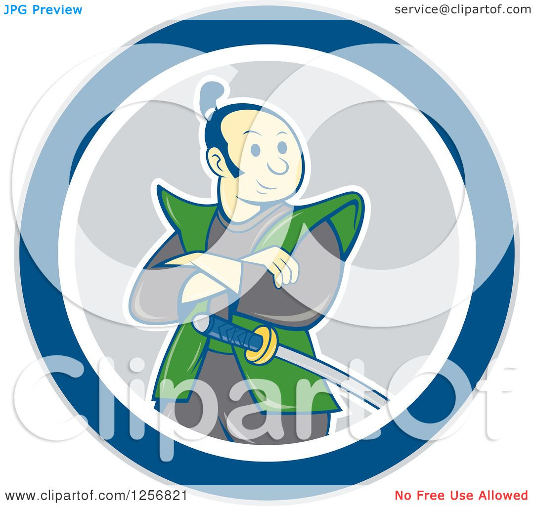 1080x1024 Clipart Of A Cartoon Samurai Warrior With Folded Arms In A Blue