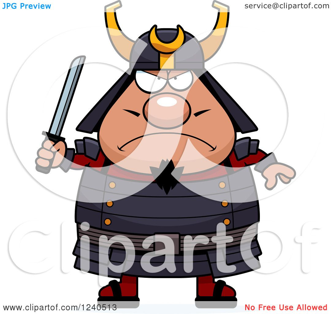 1080x1024 Clipart Of A Tough Samurai Warrior Holding A Sword