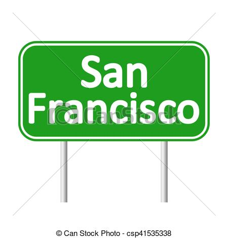 450x470 San Francisco Green Road Sign Isolated On White Background Vectors