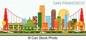 300x141 San Francisco Skyline With Colorful Sky. San Francisco City