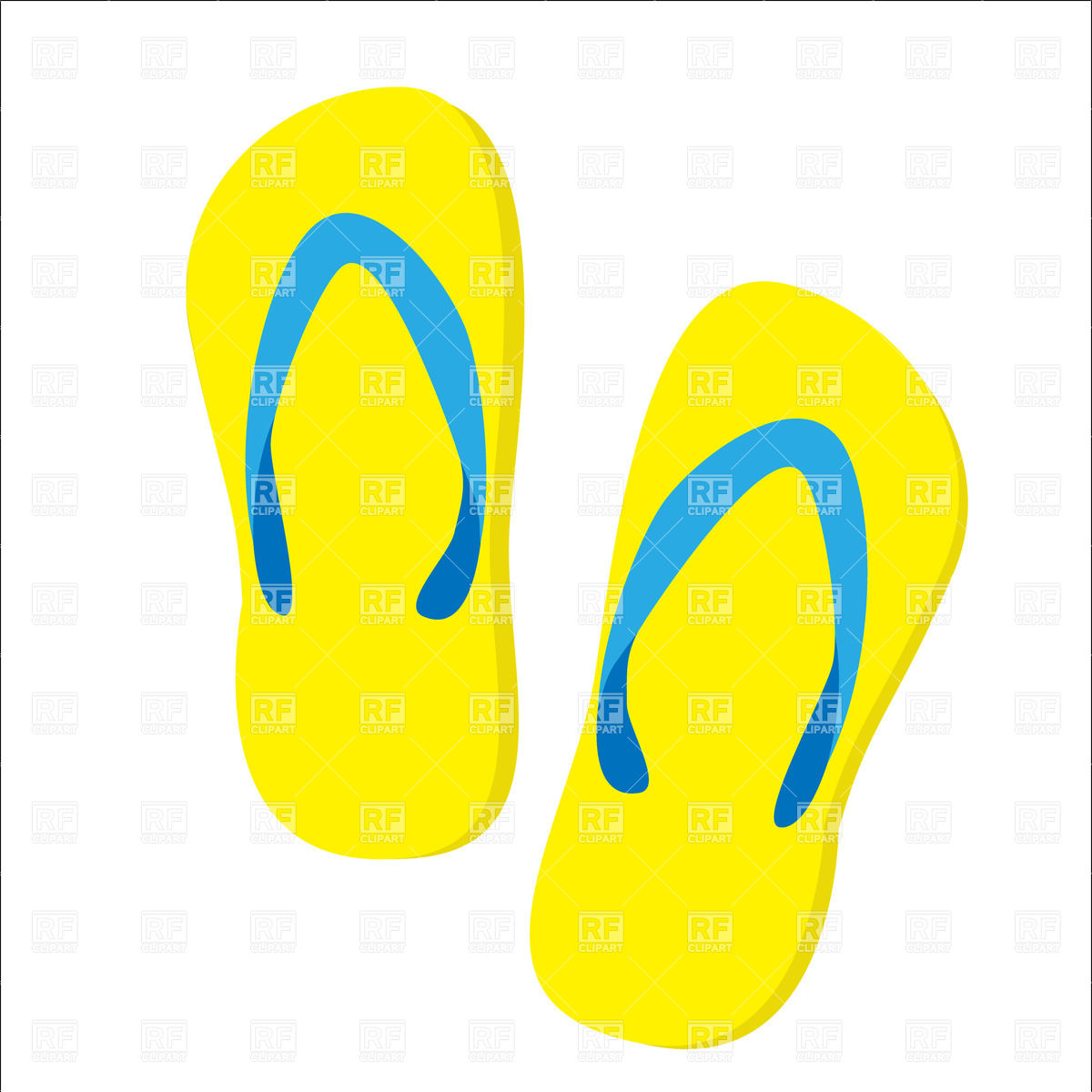 1200x1200 Yellow Beach Slippers Isolated Vector Image Vector Artwork