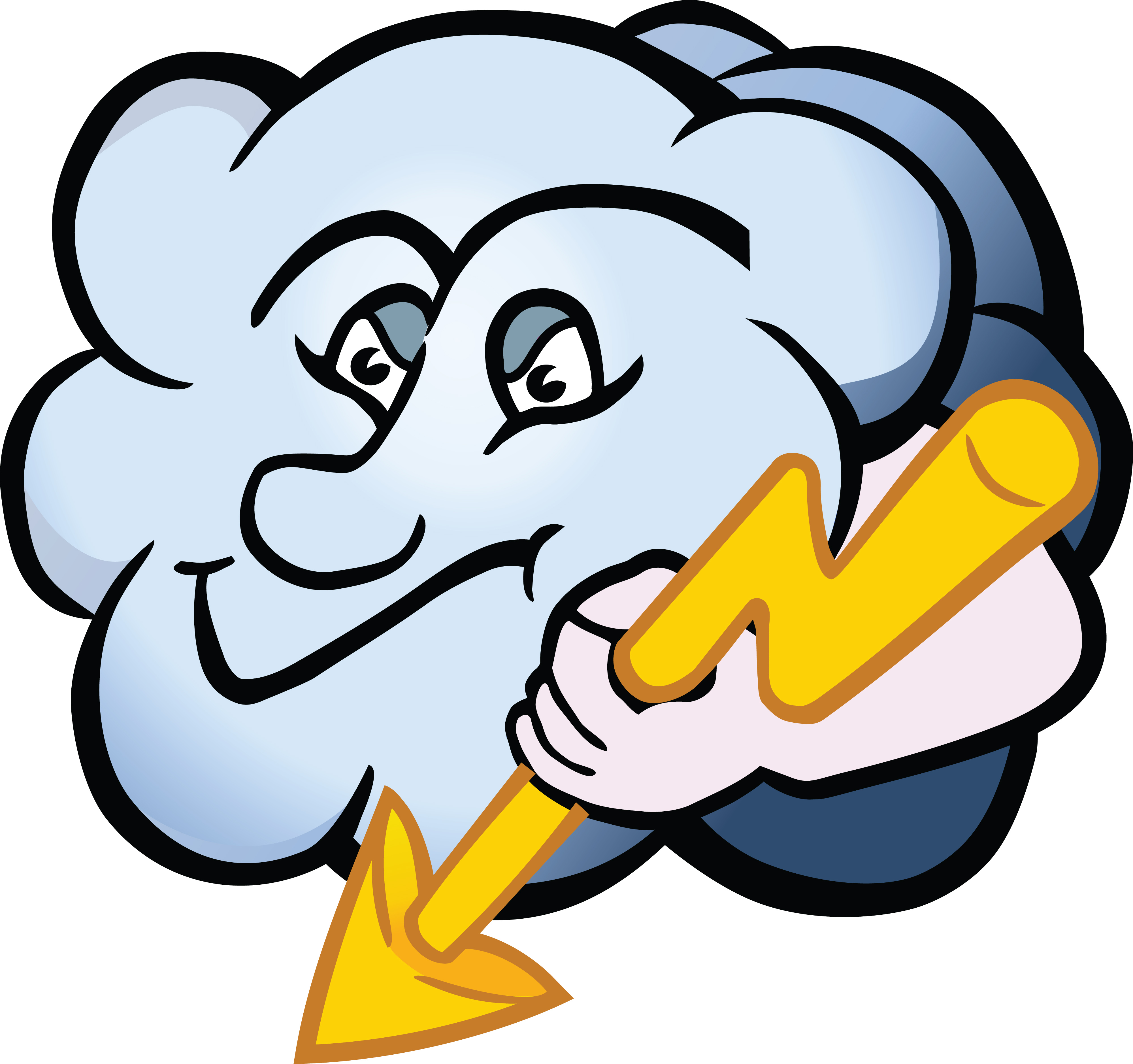 4000x3756 Free Clipart Of A Cloud Character Holding A Lightning Bolt
