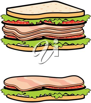308x350 Clip Art Illustration Of Two Sandwiches
