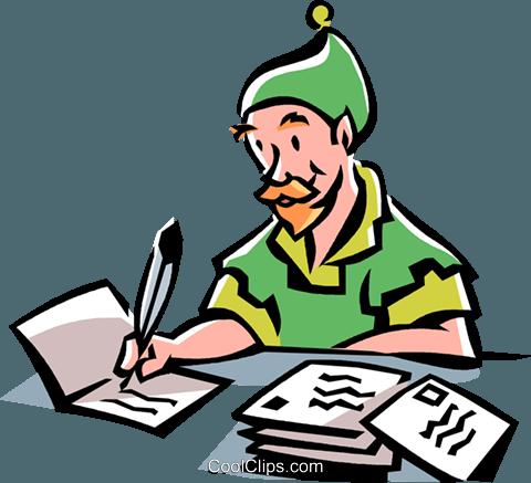 480x437 Elf Writing Christmas Cards Royalty Free Vector Clip Art