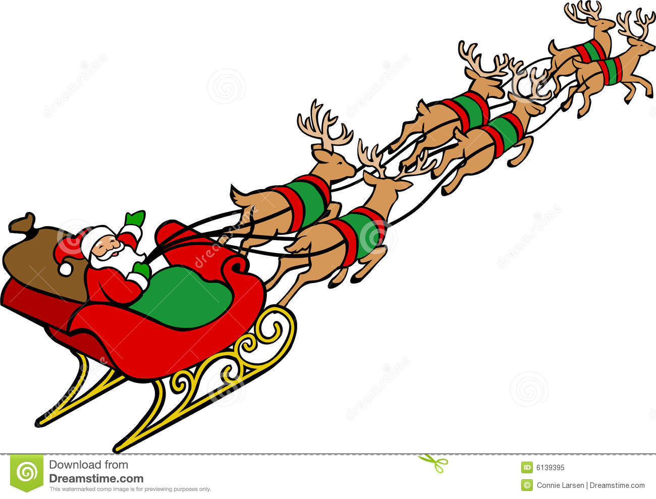 Santa And His Reindeer Clipart