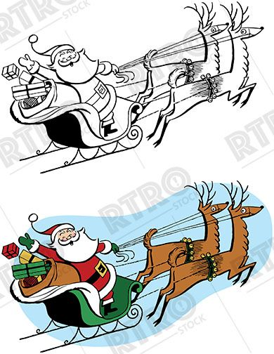 Santa And His Sleigh Clipart