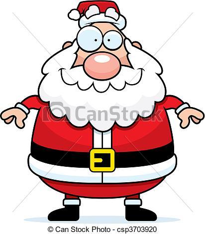 412x470 Santa Claus Smiling. A Happy Cartoon Santa Claus Standing