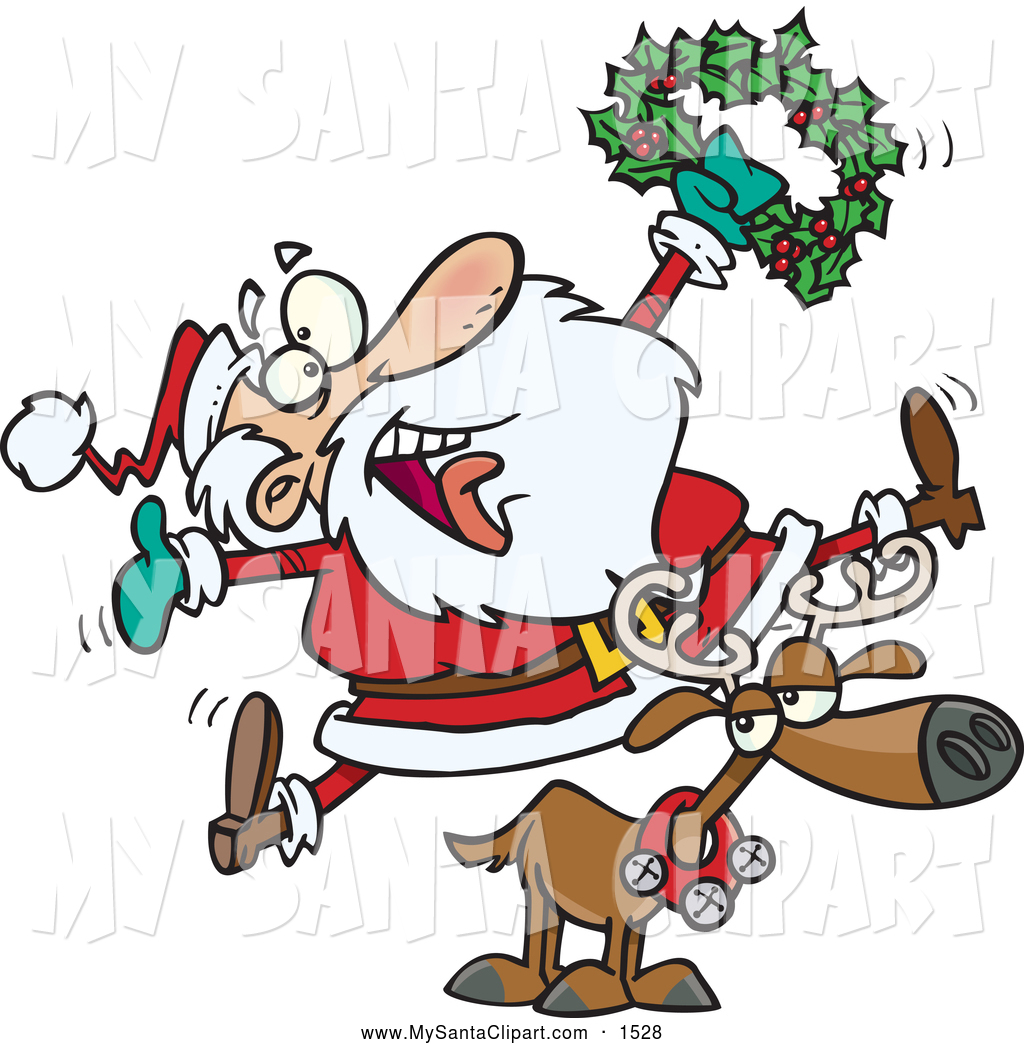 1024x1044 Father Christmas And Reindeer Clip Art