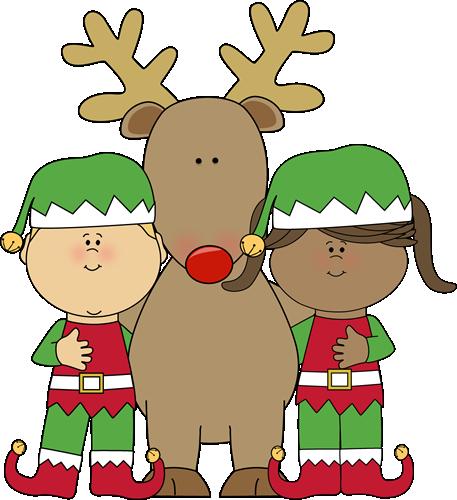 457x500 Reindeer And Elf Clipart