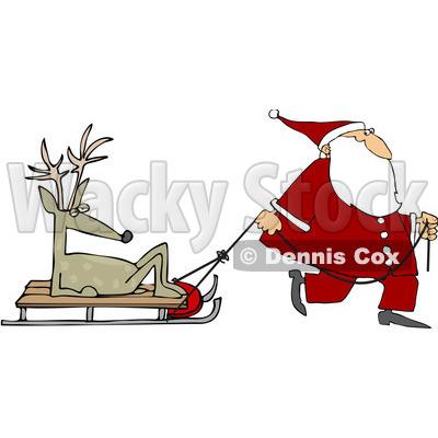 400x400 Royalty Free (Rf) Clipart Illustration Of Santa Walking