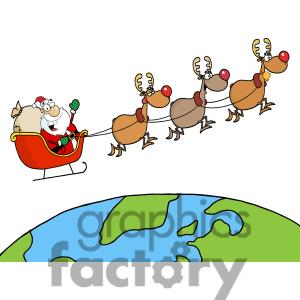 300x300 Santa And Reindeer Flying Clipart