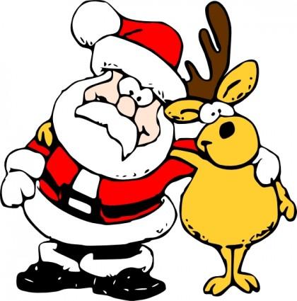 420x425 Santa And Reindeer Clip Art Clipart Panda