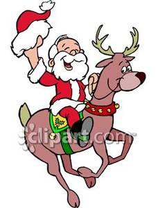 225x300 Santa Riding A Reindeer