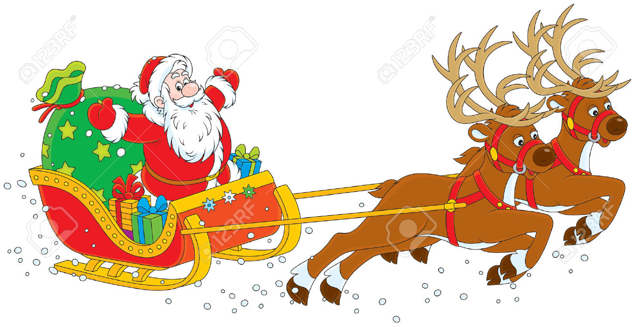 1300x670 Free Clipart Father Christmas Sleigh