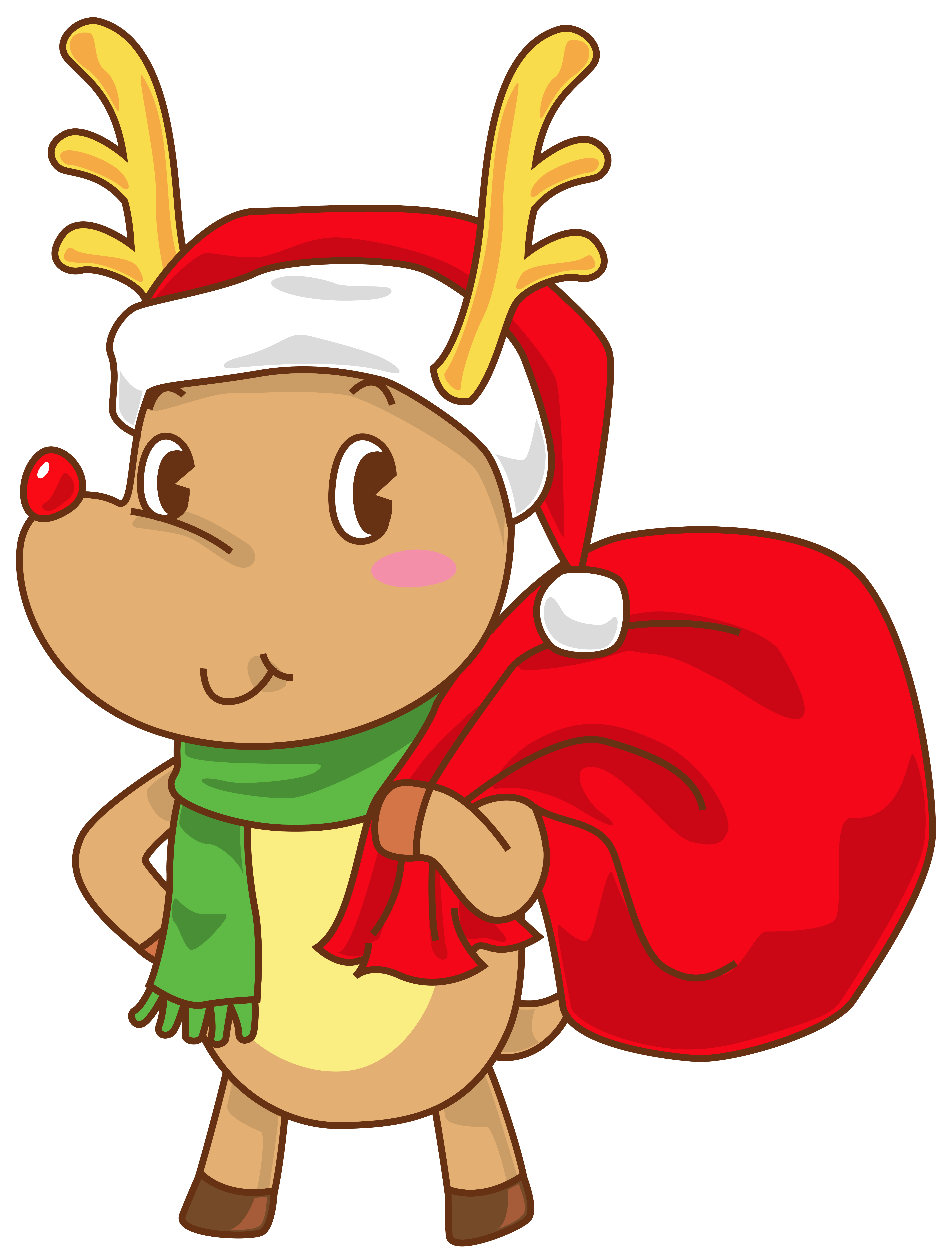 5474x7183 Christmas Rudolph With Santa Hat Transparent Png Clip Art Image