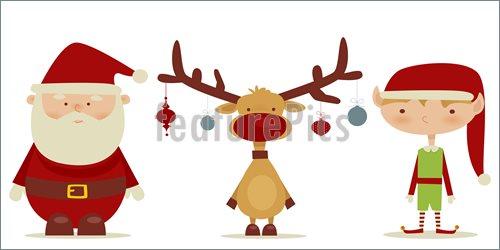 500x250 Illustration Of Retro Santa Claus, Elf, Rudolph