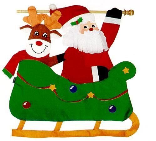 498x450 Large Christmas Santa Claus Sleigh Ride With Rudolph The Red Nosed