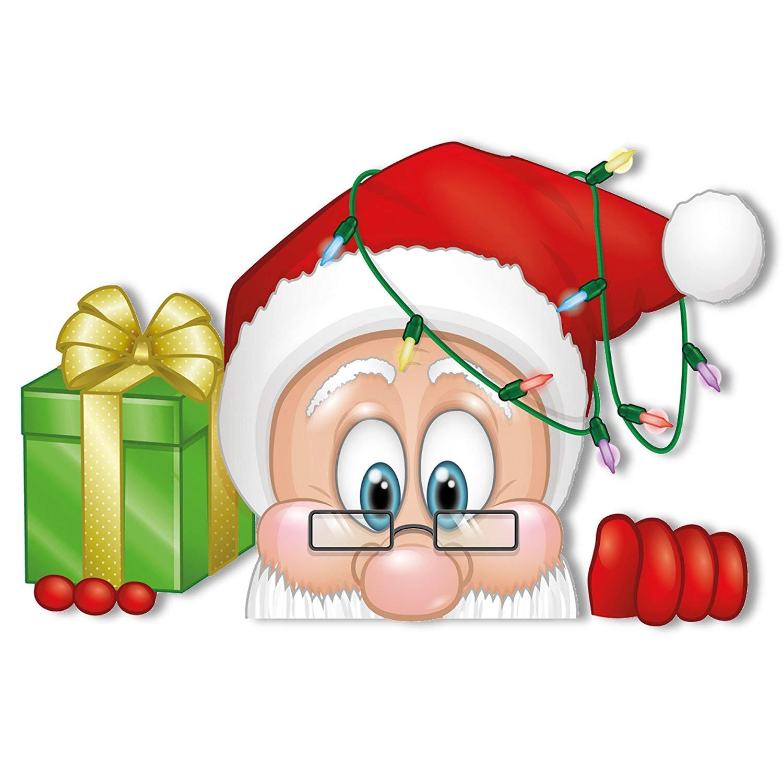 1500x1500 Peeping Santa And Rudolph Window Clings
