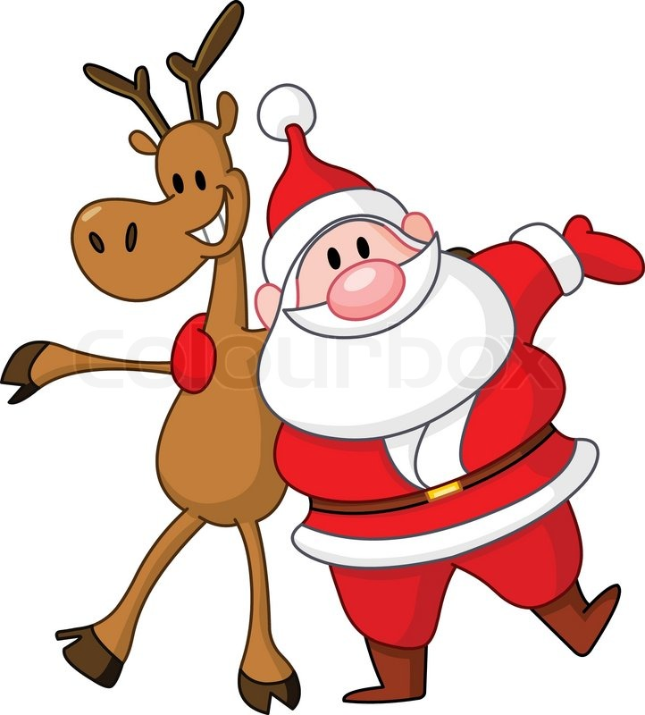 722x800 Reindeer And Santa Embracing Each Other Stock Vector Colourbox