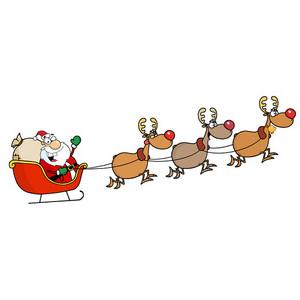 300x300 Reindeer And Sleigh Clipart