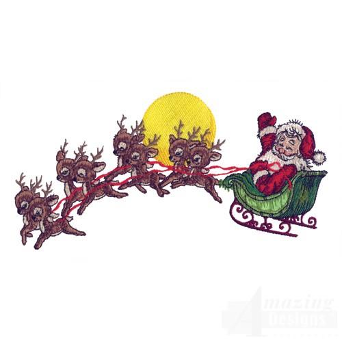 500x500 Santa And Reindeer Flying Clipart Amp Santa And Reindeer Flying Clip