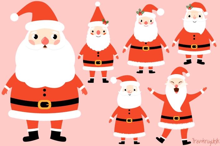 705x469 Kawaii Santa Claus Clipart Set, Cute Santa Clip Art, Funny Santas
