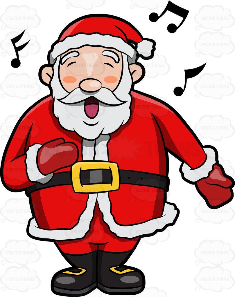 809x1024 A Jolly Santa Claus Singing In Delight Cartoon Clipart Vector Toons
