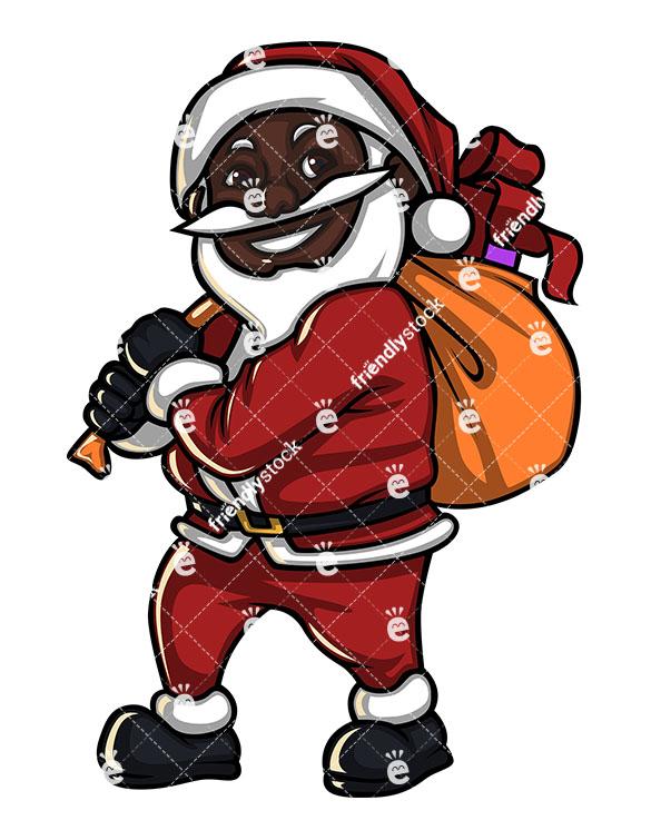 585x755 Smiling Black Santa Claus With Gift Bag Cartoon Vector Clipart
