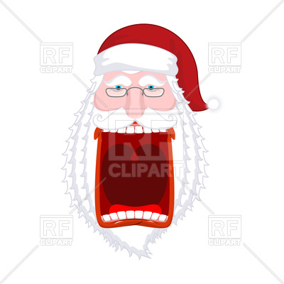 400x400 Angry Santa Claus With Big Open Mouth Shouts Royalty Free Vector