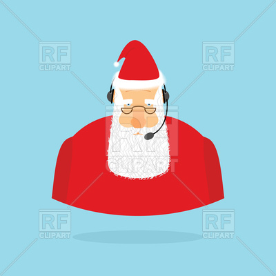 400x400 Christmas Call Center, Santa Claus With Headset Royalty Free