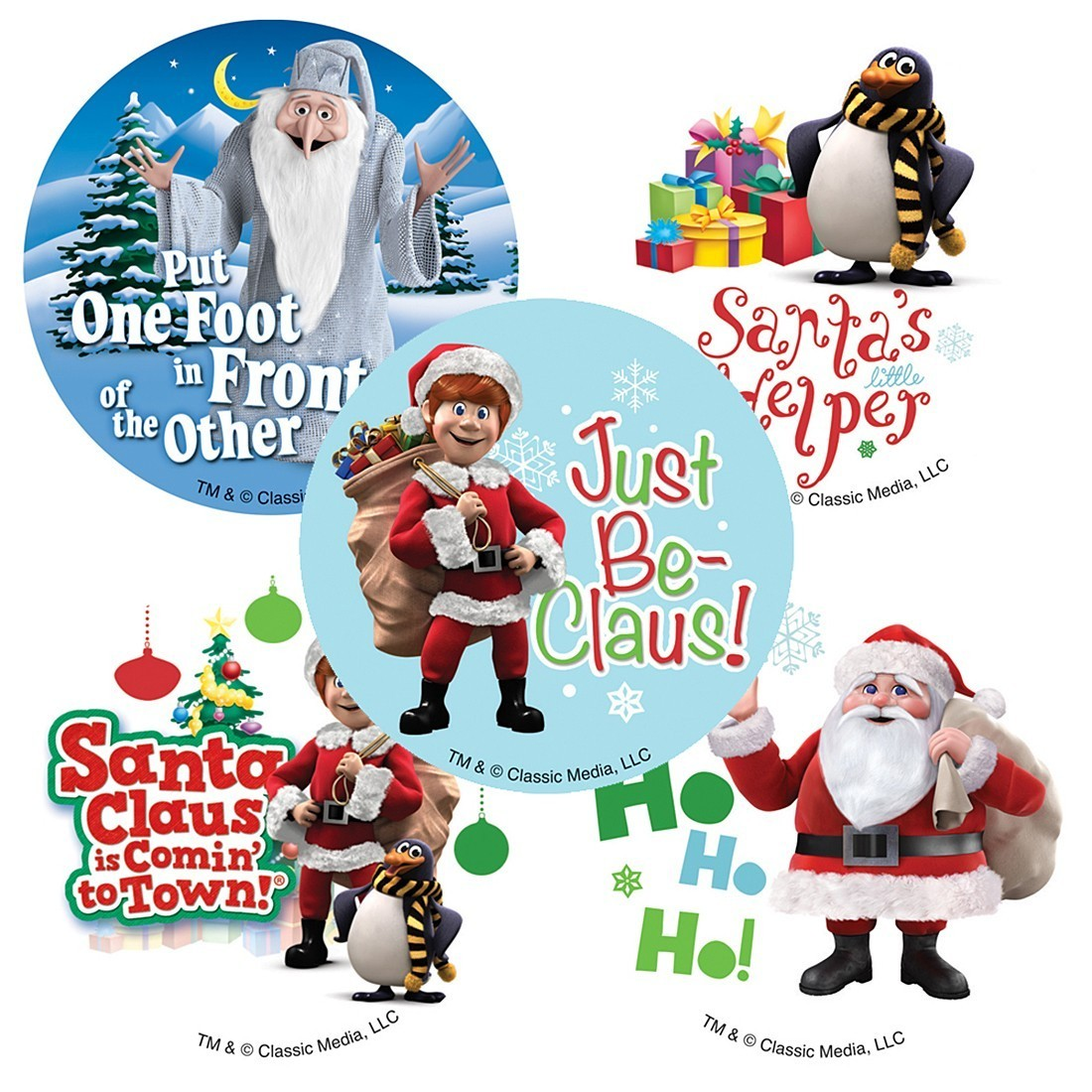 1100x1100 Santa Claus Is Coming To Town Stickers