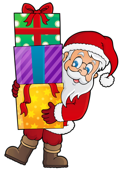 423x600 Transparent Santa With Presents Png Clipart