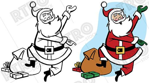 504x281 A Happy Santa Claus Jumps And Skips Retro Clip Art Clipart Rtro
