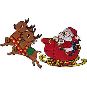 300x300 Father Christmas Santa Claus Sleigh Reindeer Patch Embroidered