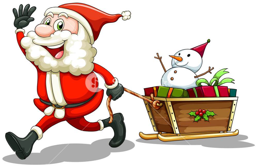 1000x646 Illustration Of A Smiling Santa Pulling A Sleigh On A White