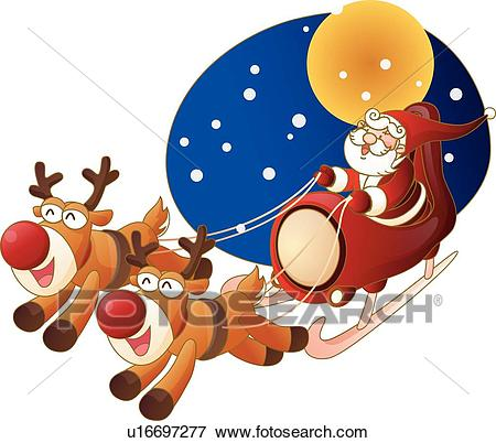 450x402 Santa And Rudolph Clipart