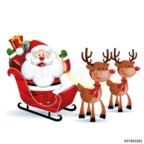 500x500 Santa Claus Riding A Sleigh With Reindeers In White Background