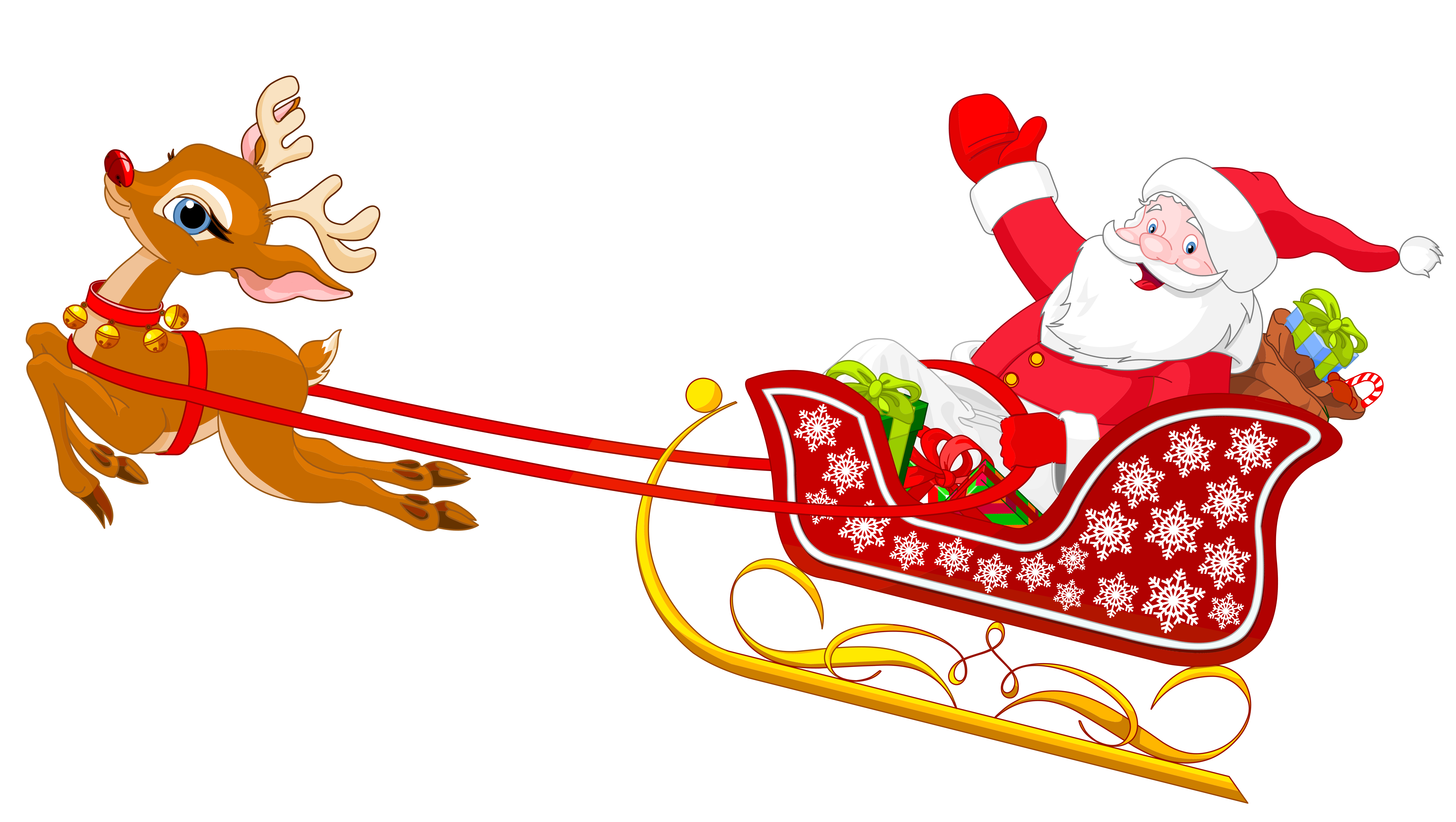 6337x3579 Santa And Reindeer With Sled Png Clipart