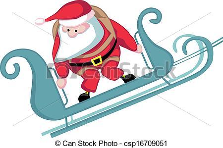 450x299 Santa Skydiving. Cartoon Santa In Sleigh Before Parachute